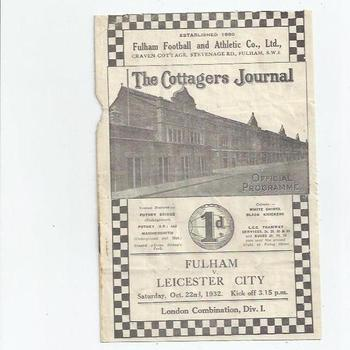 Fulham v Leicester City 1932/33 London Combination