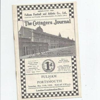 Fulham v Portsmouth 1932/33 London Combination