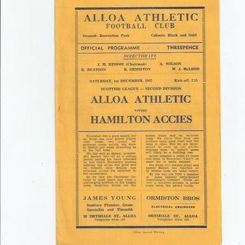 Alloa v Hamilton 1962/63