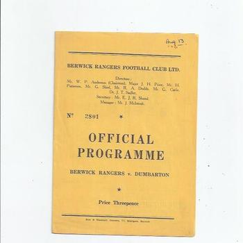 Berwick Rangers v Dumbarton 1960/61 Scottish League Cup