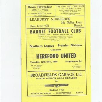 Barnet v Hereford United 1966/67