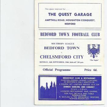 Bedford Town v Chelsmford City 1968/69