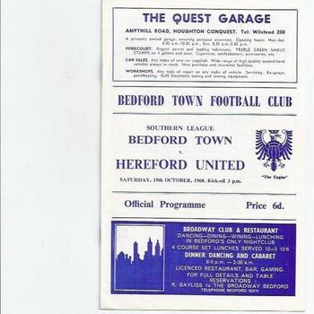 Bedford Town v Hereford United 1968/69