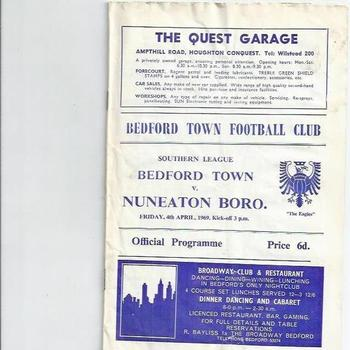 Bedford Town v Nuneaton Borough 1968/69