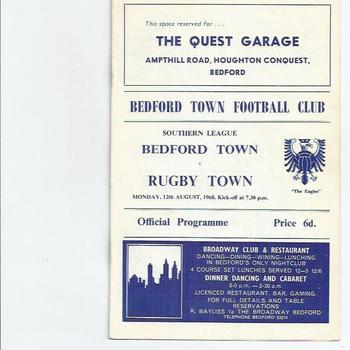 Bedford Town v Rugby Town 1968/69