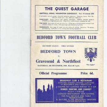 Bedford Town v Gravesed & Northfleet 1969/70