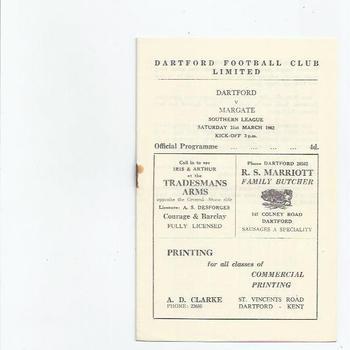 1961/62 Dartford v Margate Football Programme