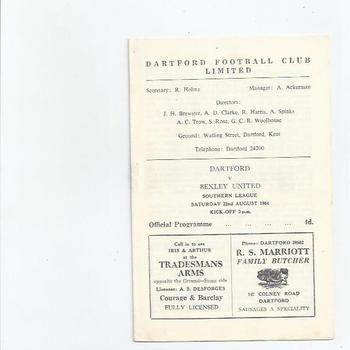1964/65 Dartford v Bexley United Football Programme