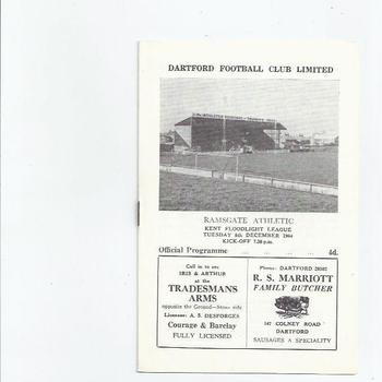 1964/65 Dartford v Ramsgate Athletic Football Programme