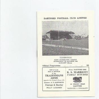 1964/65 Dartford v Tonbridge Football Programme