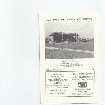 1964/65 Dartford v Yeovil Town Football Programme