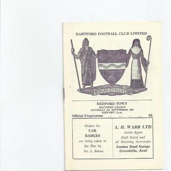 1967/68 Dartford v Bedford Town Football Programme