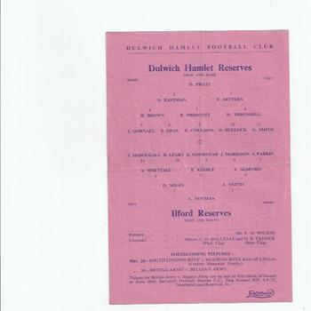 Dulwich Hamlet v Ilford 1950/51 Reserves