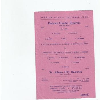 Dulwich Hamlet v St Albans City 1950/51 Reserves