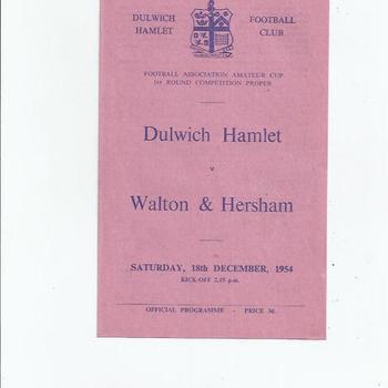 Dulwich Hamlet v Walton & Hersham 1954/55 FA Amateur Cup