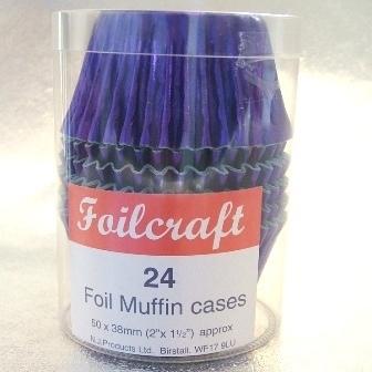 24 Purple Foil Baking Cases