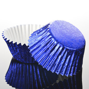 24 Royal Blue Foil Baking Cases