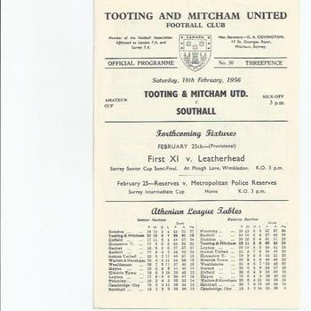 Tooting & Mitcham United v Southall 1955/56 Amauetur Cup