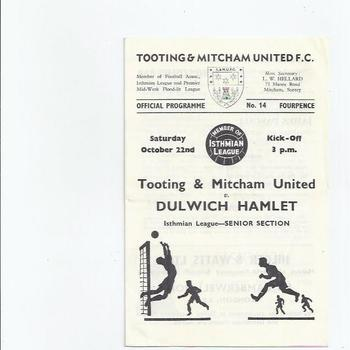 1966/67 Tooting & Mitcham United v Dulwich Hamlet Football Programme + Press Cutting
