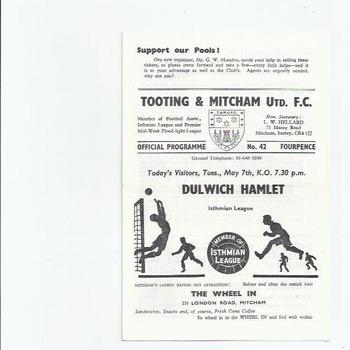 1967/68 Tooting & Mitcham United v Dulwich Hamlet Football Programme