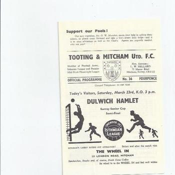 1967/68 Tooting & Mitcham United v Dulwich Hamlet Surrey Senior Cup Semi Final Football Programme