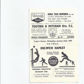1968/69 Tooting & Mitcham United v Dulwich Hamlet Football Programme