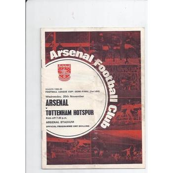 Arsenal v Tottenham Hotspur League Cup Semi Final 1968/69