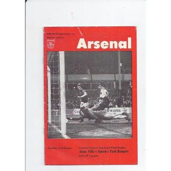 Aston Villa v Queens Park Rangers League Cup Semi Final Replay 1976/77 @ Arsenal