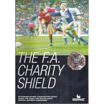 1994 Blackburn Rovers v Manchester United Charity Shield Football Programme + Team Sheet