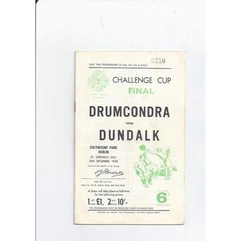 1958 Drumcondra v Dundalk Irish Challenge Cup Final Football Programme