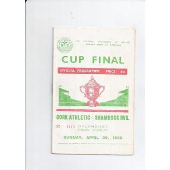 1956 Cork Athletic v Shamrock Rovers Irish Cup Final Football Programme