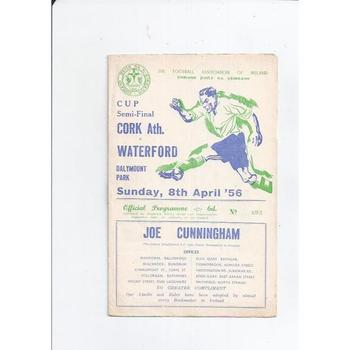 1956 Cork Athletic v Waterford Irish Cup Semi Final Football Programme