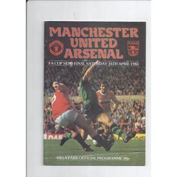1983 Manchester United v Arsenal FA Cup Semi Final Football Programme