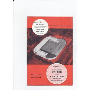 1965/66 Manchester United v Partizan European Cup Semi Final Football Programme