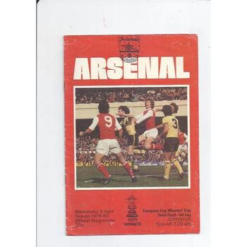 1979/80 Arsenal v Juventus Cup Winners Cup Semi Final Football Programme