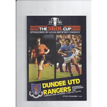 1986/87 Dundee United v Rangers Scottish League Cup Semi Final Football Programme