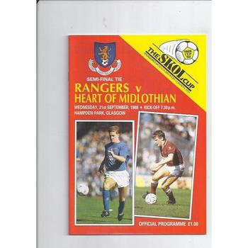 1988/89 Rangers v Hearts Scottish League Cup Semi Final Football Programme