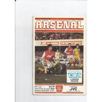 1982/83 Arsenal v Manchester United League Cup Semi Final Football Programme