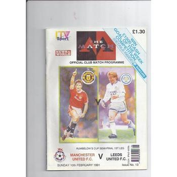 1990/91 Manchester United v Leeds United League Cup Semi Final TV Edition