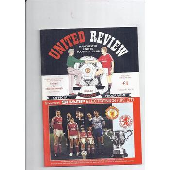 1991/92 Manchester United v Middlesbrough League Cup Semi Final Football Programme