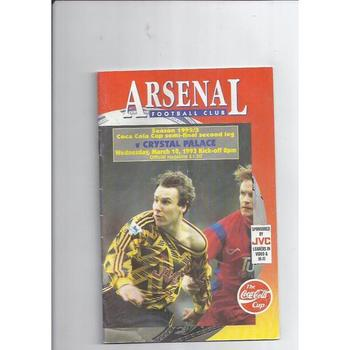 1992/93 Arsenal v Crystal Palace League Cup Semi Final Football Programme