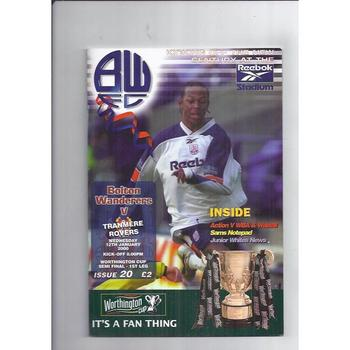 1999/00 Bolton Wanderers v Tranmere Rovers League Cup Semi Final Football Programme