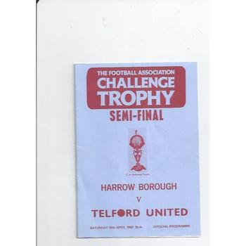 1982/83 Harrow Borough v Telford United Trophy Semi Final Football Programme