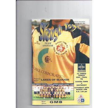 1997/98 Slough Town v Southport Trophy Semi Final Football Programme