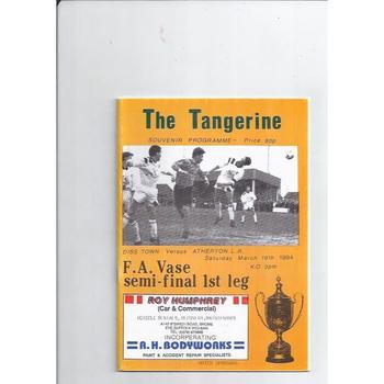 1993/94 Diss Town v Ahterton L.R Vase Semi Final Football Programme
