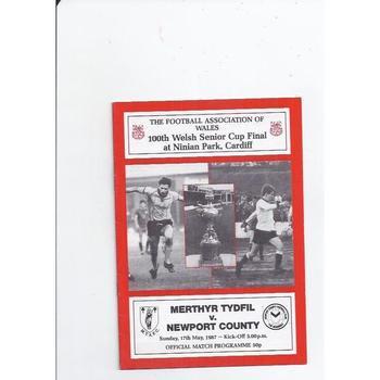 1986/87 Merthyr Tydfil v Newport County Welsh Cup Final Football Programme