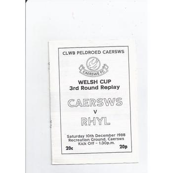 1988/89 Caersws v Rhyl Welsh Cup Football Programme