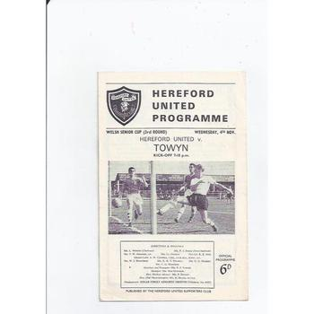 1964/65 Hereford United v Towyn Welsh Cup Football Programme