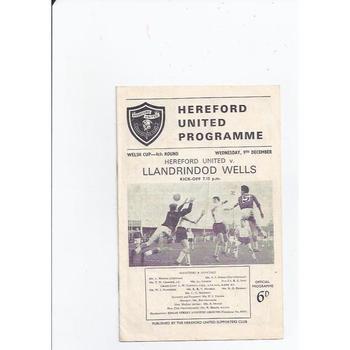 Hereford United v Llandrindod Wells Welsh Cup 1964/65