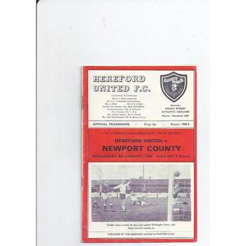 1965/66 Hereford United v Newport County Welsh Cup Football Programme